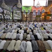 Shi'ite Muslims attend Friday prayers at the Imam Hussein shrine in the holy city of Kerbala